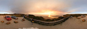 360 panorama of Ocean Beach sunset near Strahan